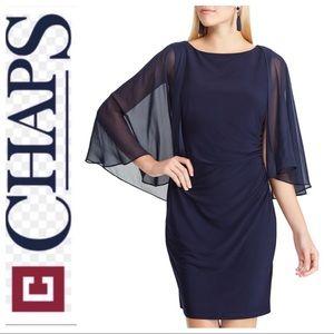 BRAND NEW CHAPS Sheer Cape Sheath BLUE DRESS L XL